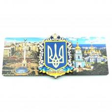 Магнит деревянный с золотом герб Украины виды Киева