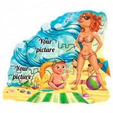 Керамічна заготовка для магніта - Пляж і дівчина