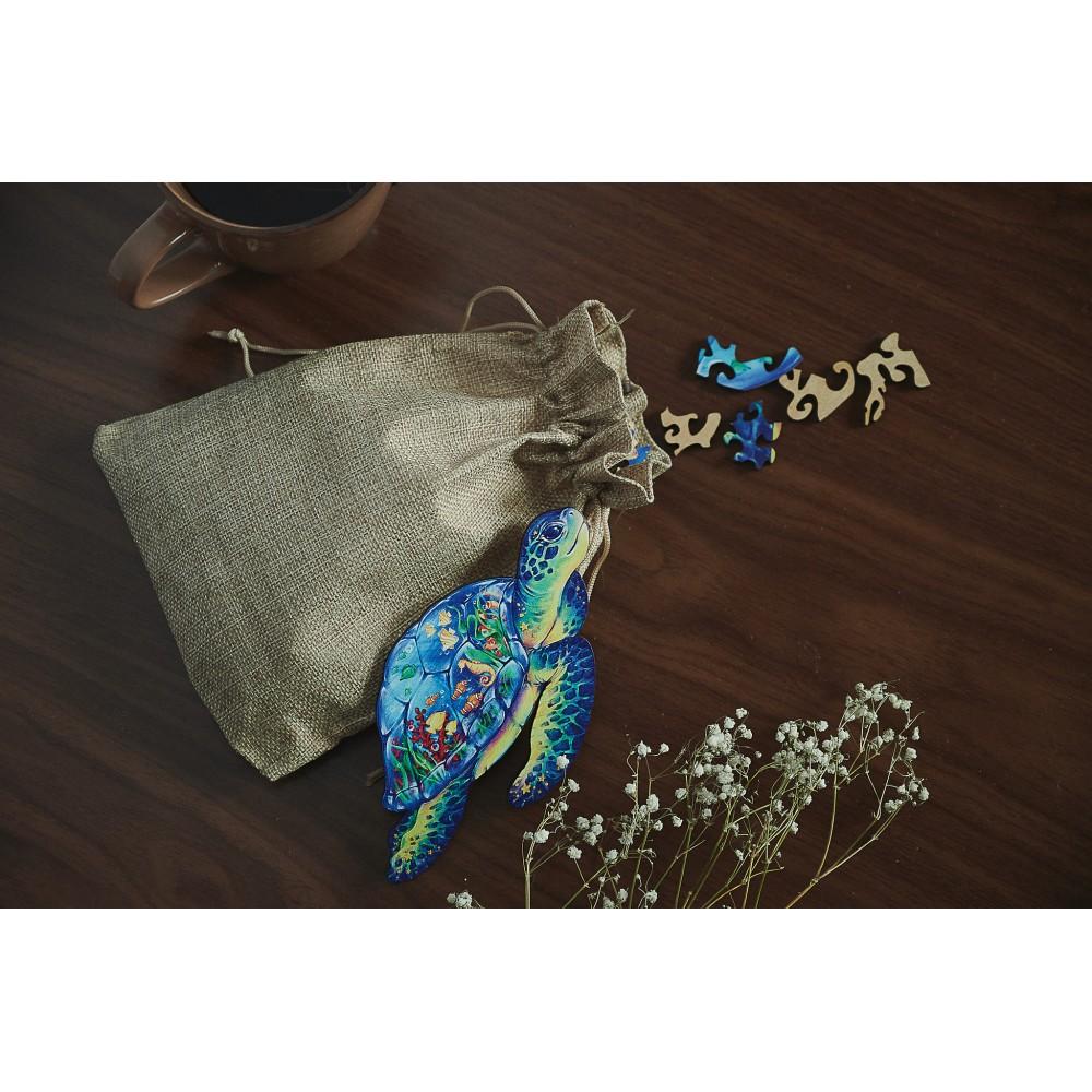 Фігурний об'ємний унікальний пазл антистрес з дерева Морська черепаха в подарунковій упаковці