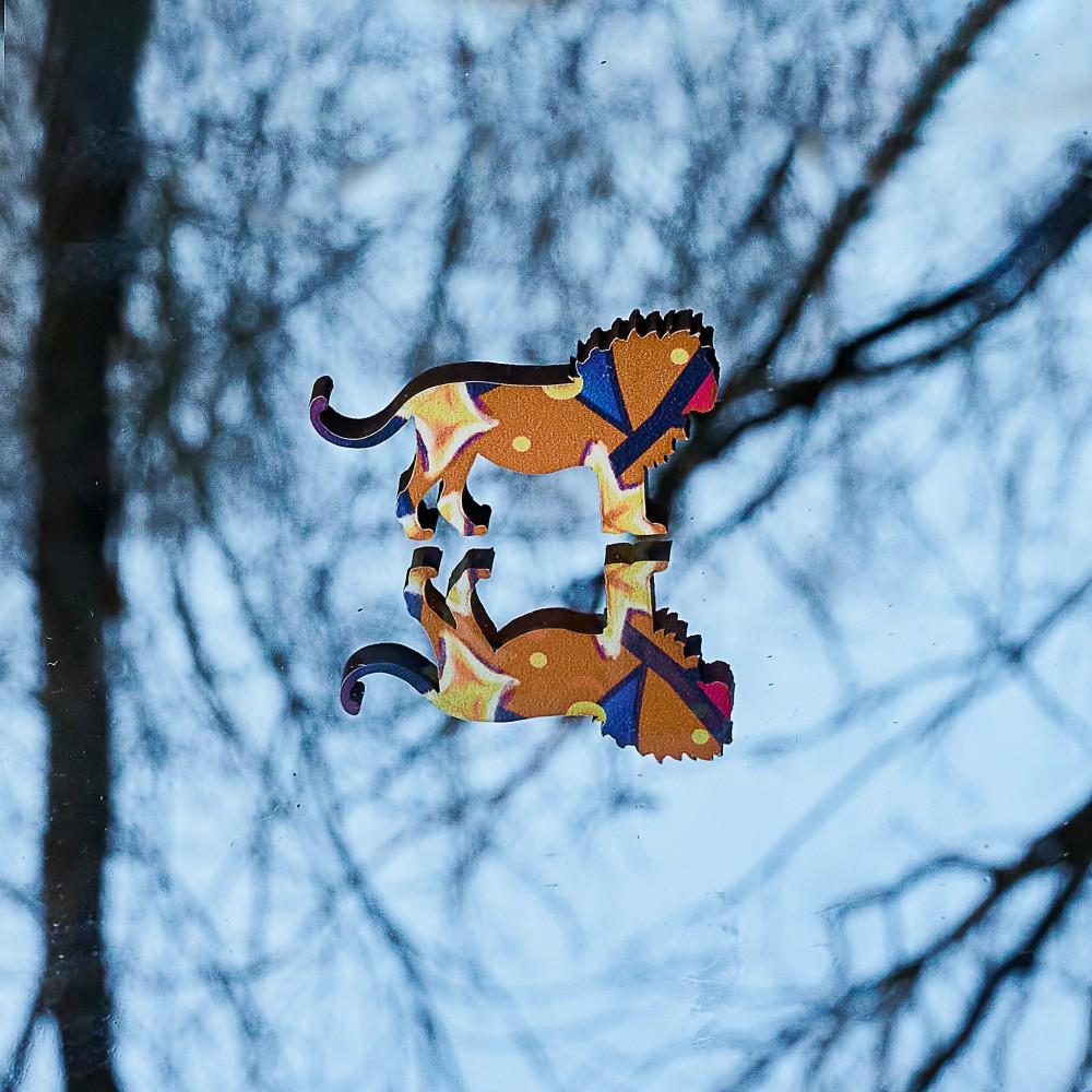 Фігурний об'ємний унікальний пазл антистрес з дерева Зоряний Тигр - символ 2022 року в подарунковій коробці