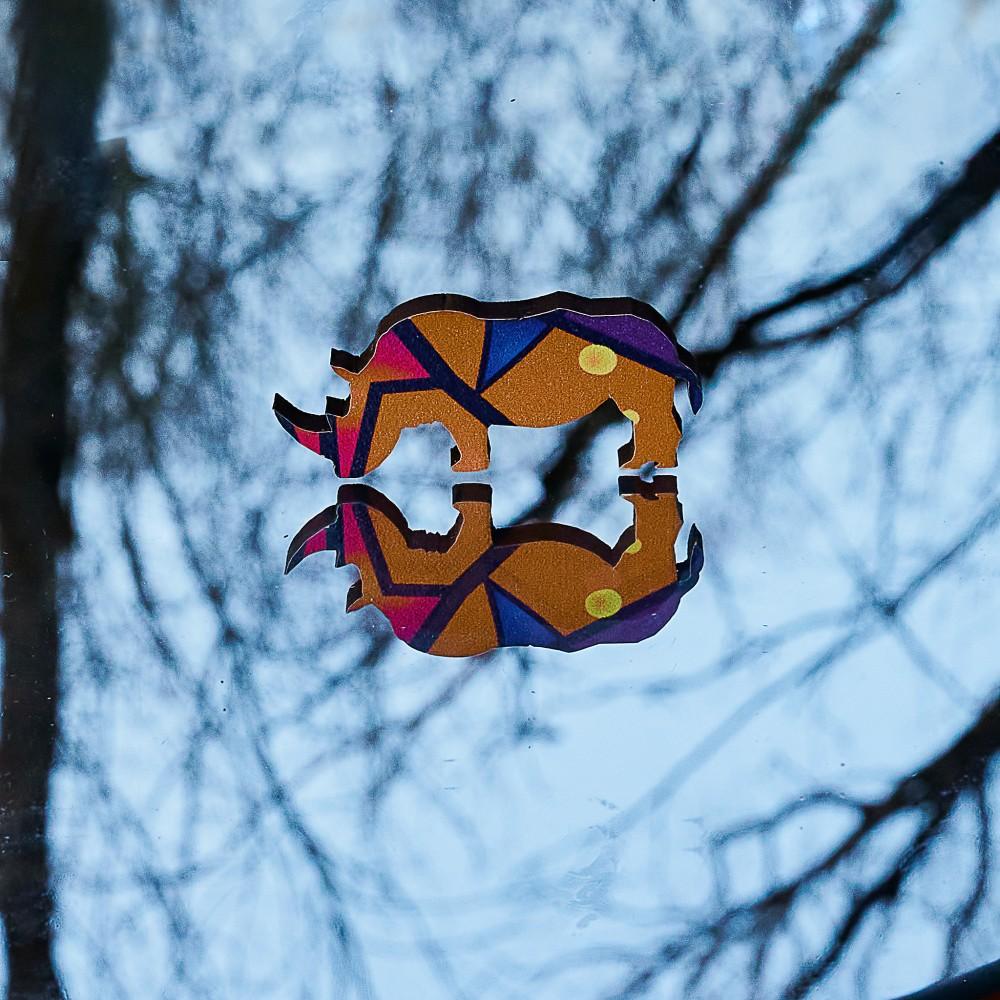 Дерев'яний пазл головоломка для дітей та дорослих тварини Зоряний Тигр - символ 2022 року