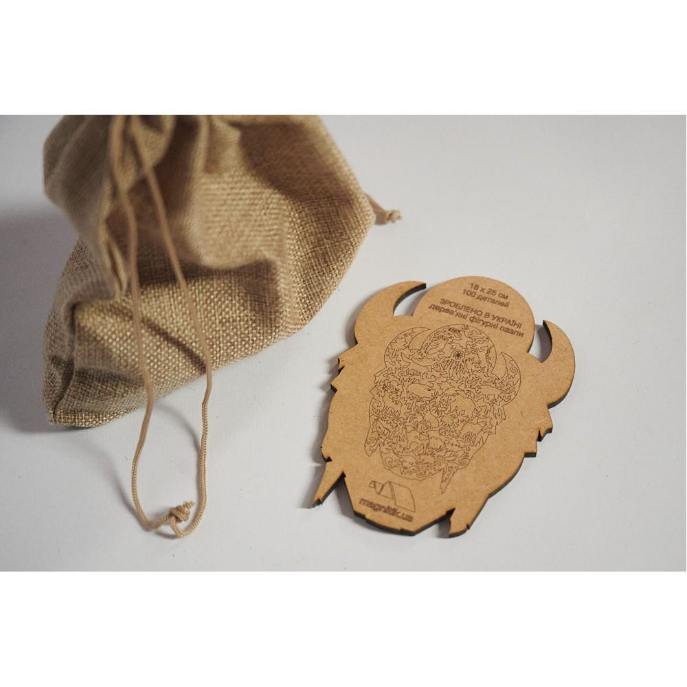 Дерев'яний пазл головоломка для дітей та дорослих тварини Могутній Бик
