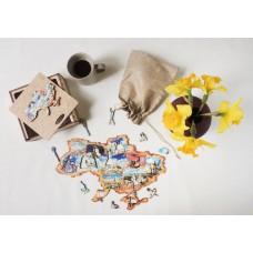 Дерев'яний пазл головоломка для дорослих колаж Київ в подарунковій коробці