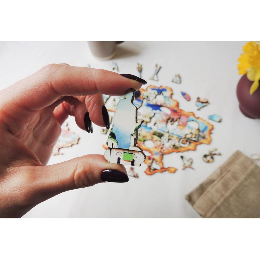 Деревянный пазл головоломка для взрослых коллаж Киев в подарочной коробке