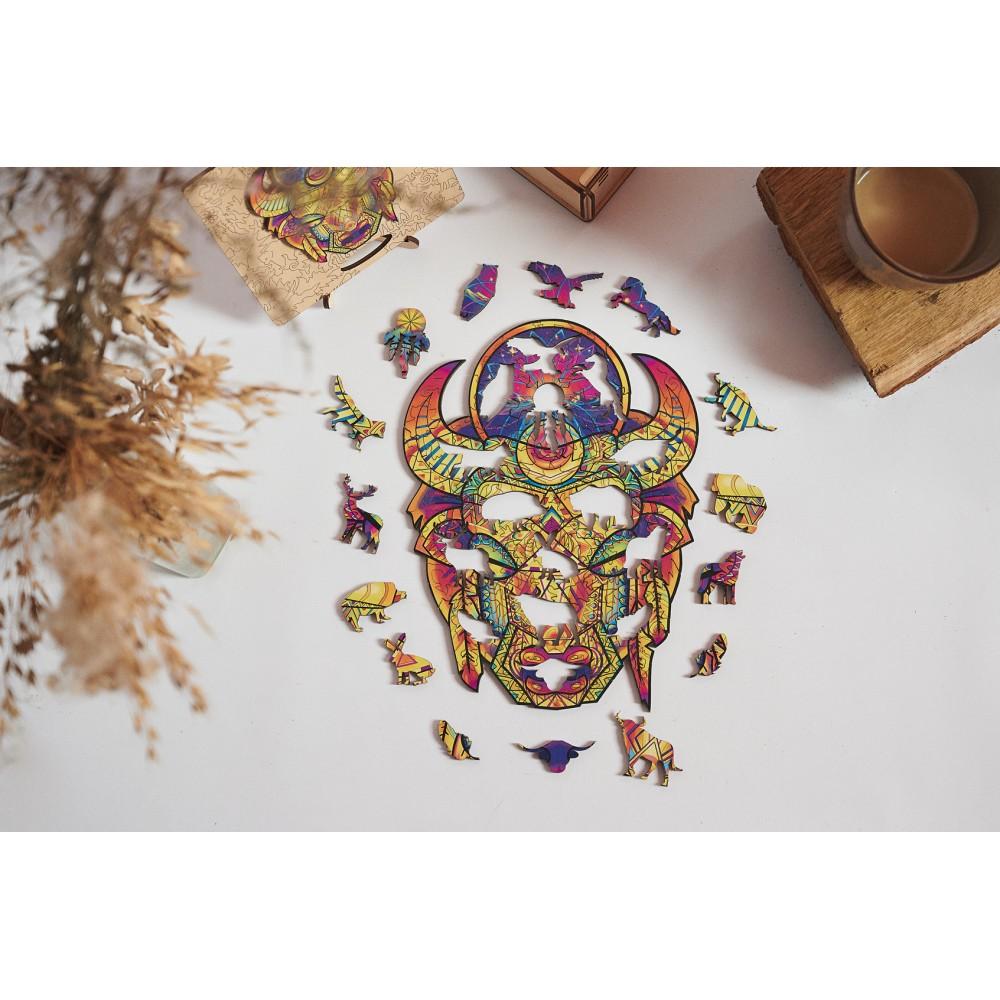 Фігурний об'ємний унікальний пазл антистрес з дерева Могутній Бик в подарунковій упаковці
