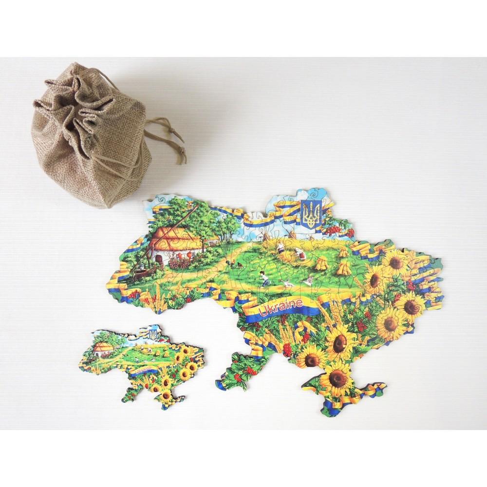 Фігурний об'ємний унікальний пазл антистрес з дерева Україна у соняшниках