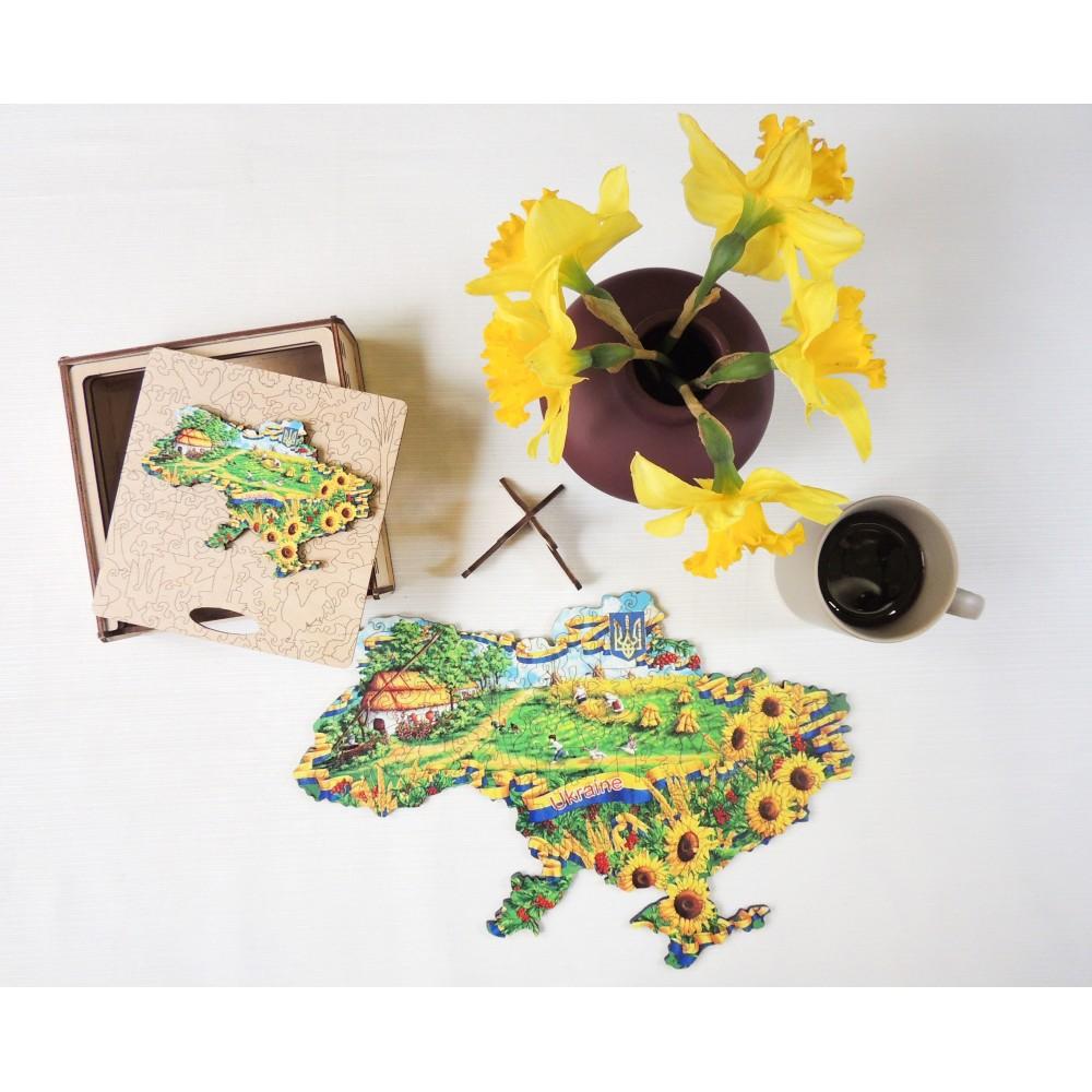 Фігурний об'ємний унікальний пазл антистрес з дерева Україна в соняшниках в подарунковій коробці