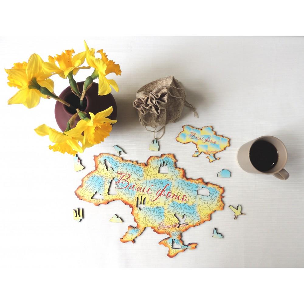 Дерев'яний пазл головоломка для дітей та дорослих колаж Україна на замовлення