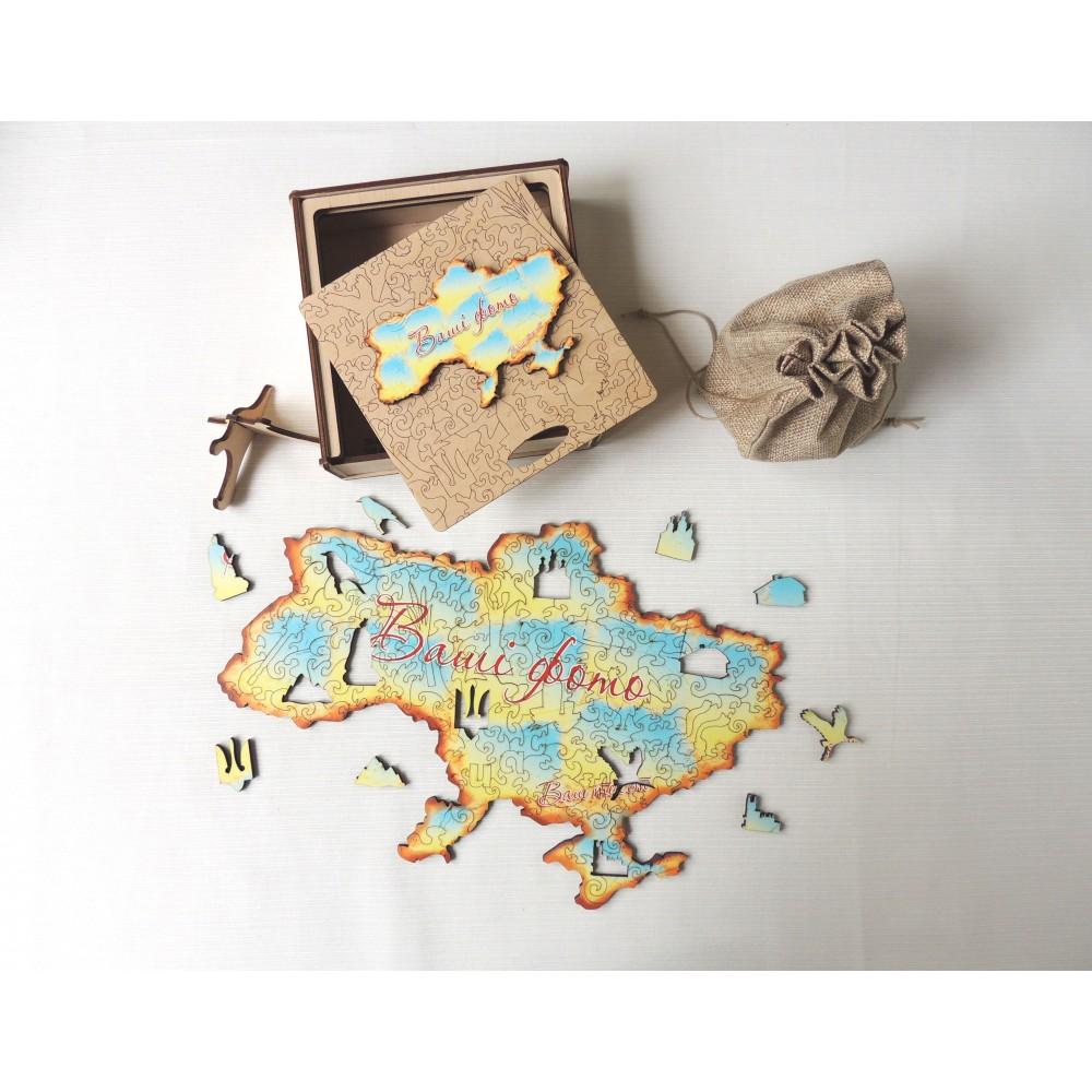 Дерев'яний пазл головоломка для дітей та дорослих колаж Україна в подарунковій коробці на замовлення
