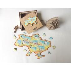 Дерев'яний пазл головоломка для дорослих колаж Україна в подарунковій коробці на замовлення