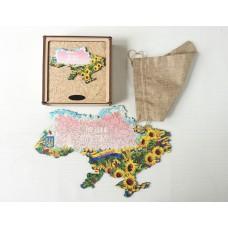 Фігурний об'ємний унікальний пазл антистрес з дерева Соняшники в подарунковій коробці на замовлення