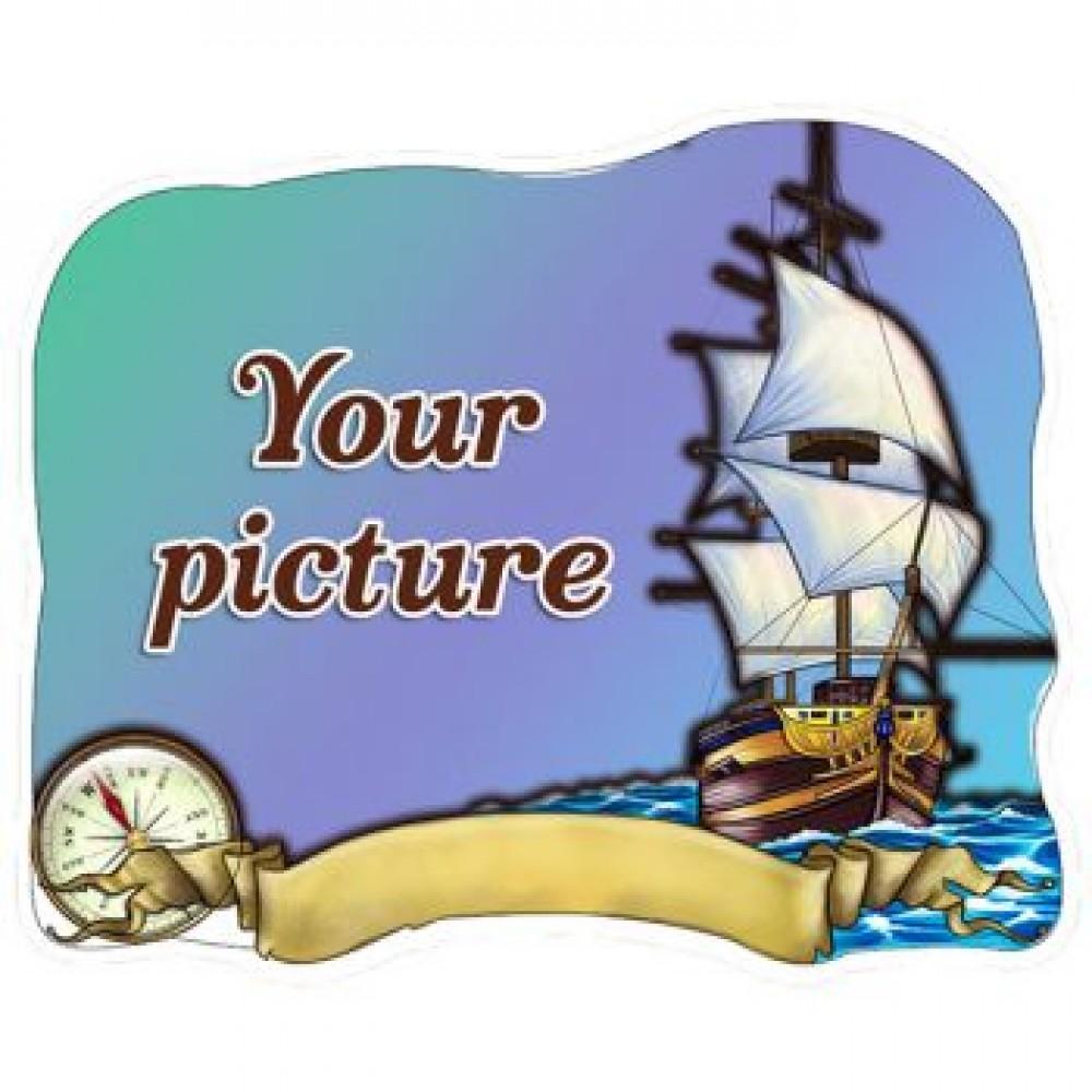 Слойка деревянная Лодка с компасом магнит