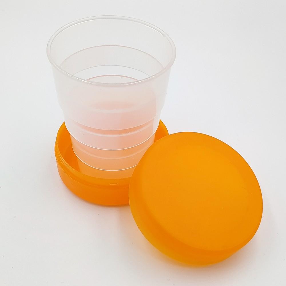 Складной стаканчик оранжевого цвета без изображения 130 мл