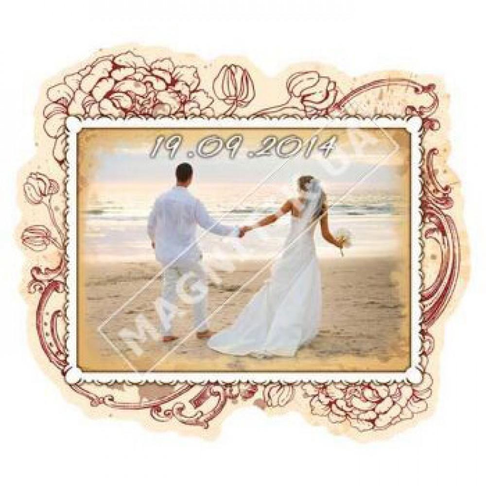 Поликерамические свадебные магниты. Рамка