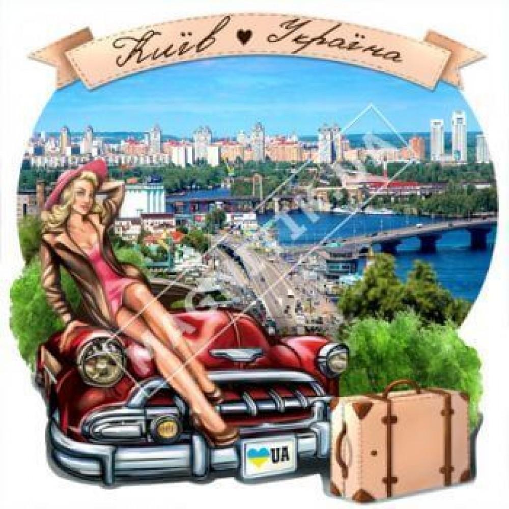 Керамічні магніти. Дівчина на машині. Київ