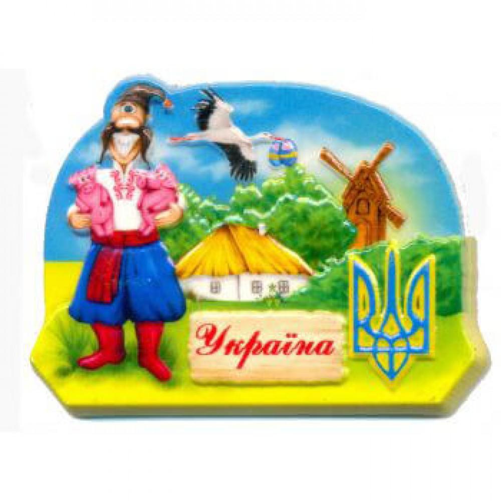 Керамічні магніти. Герб України. Козак і лелека.