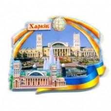 Магніт об'ємний з кераміки. Харківський вокзал з фонтаном