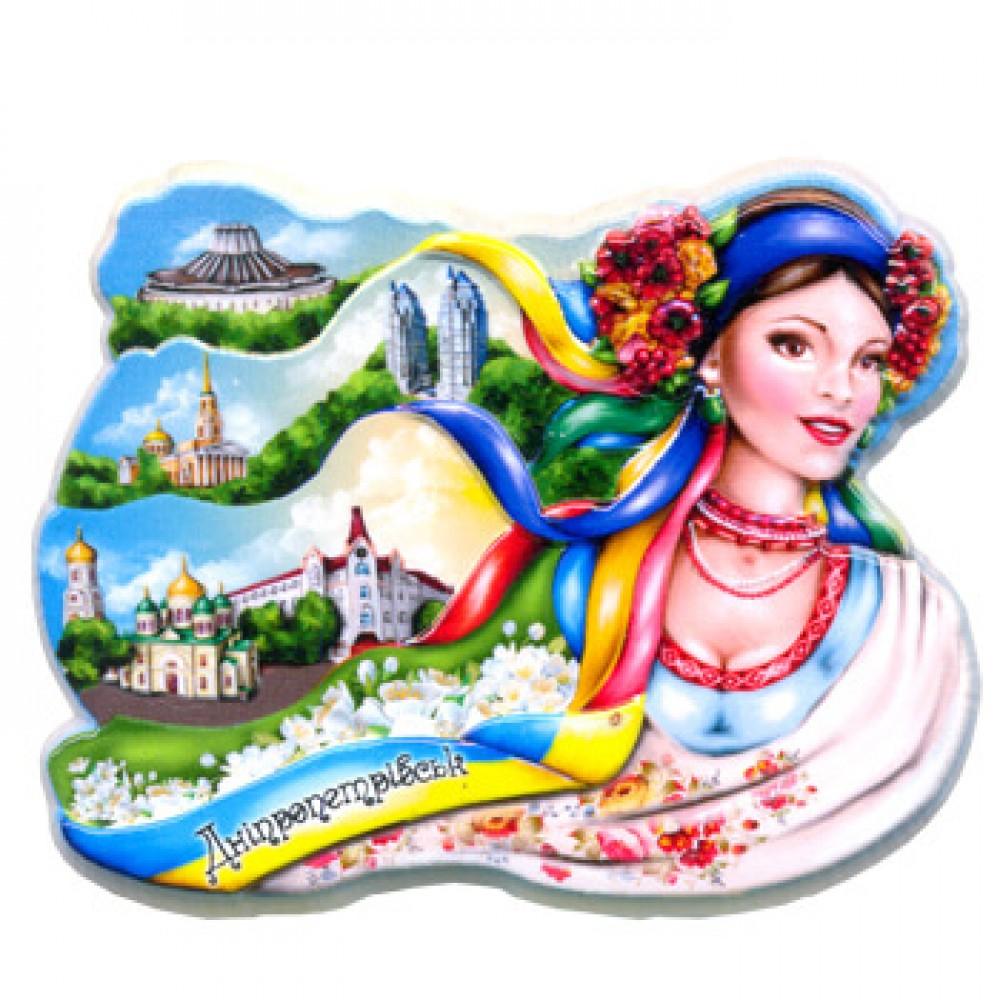 Керамические магниты. Днепропетровск. Ленточки украинки и достопримечательности