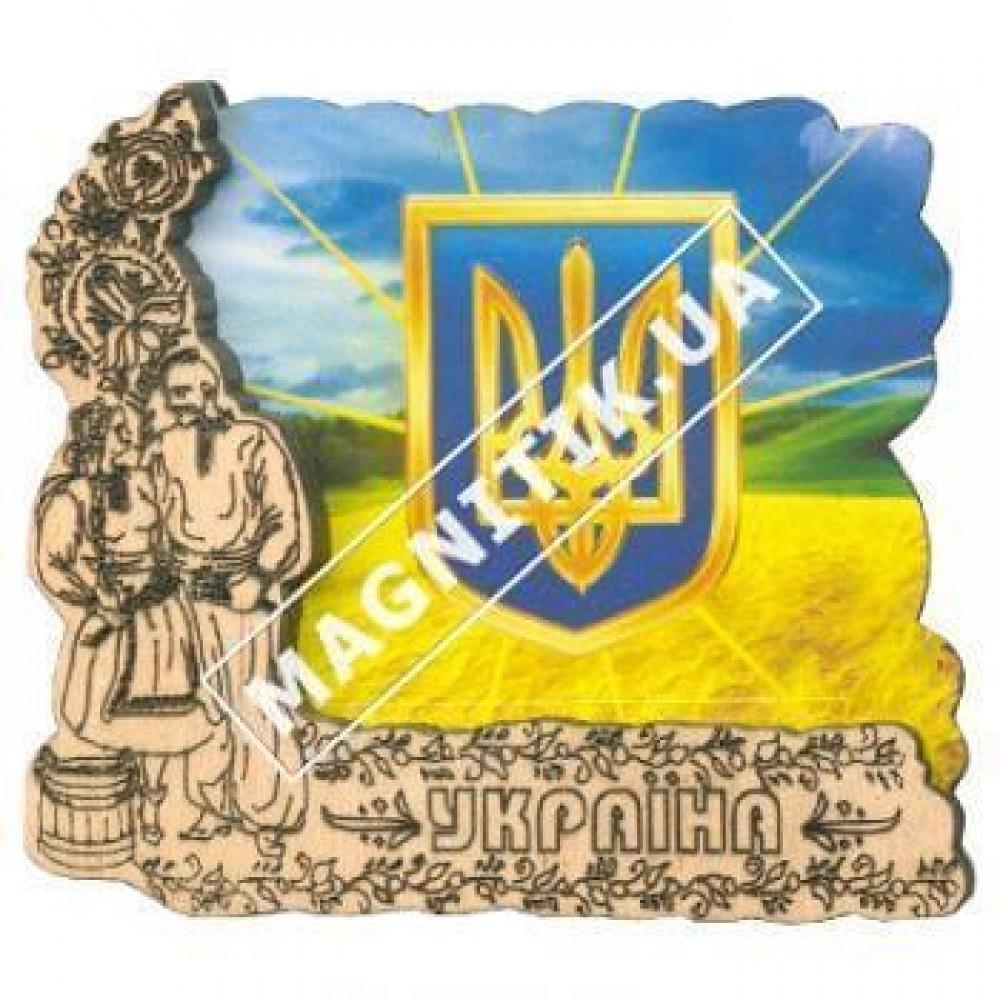 Деревянный магнит. Герб. Украина