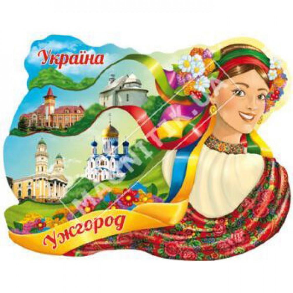 Керамічні магніти. Ужгород. Українка з стрічками