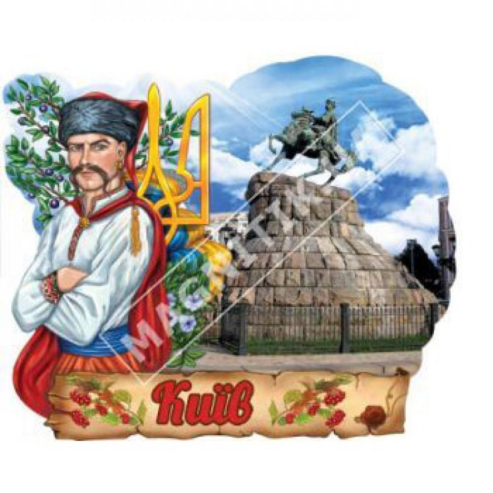 Об'ємні магніти, полікераміки. Козак і герб. Київ. Пам'ятник Б. Хмельницький