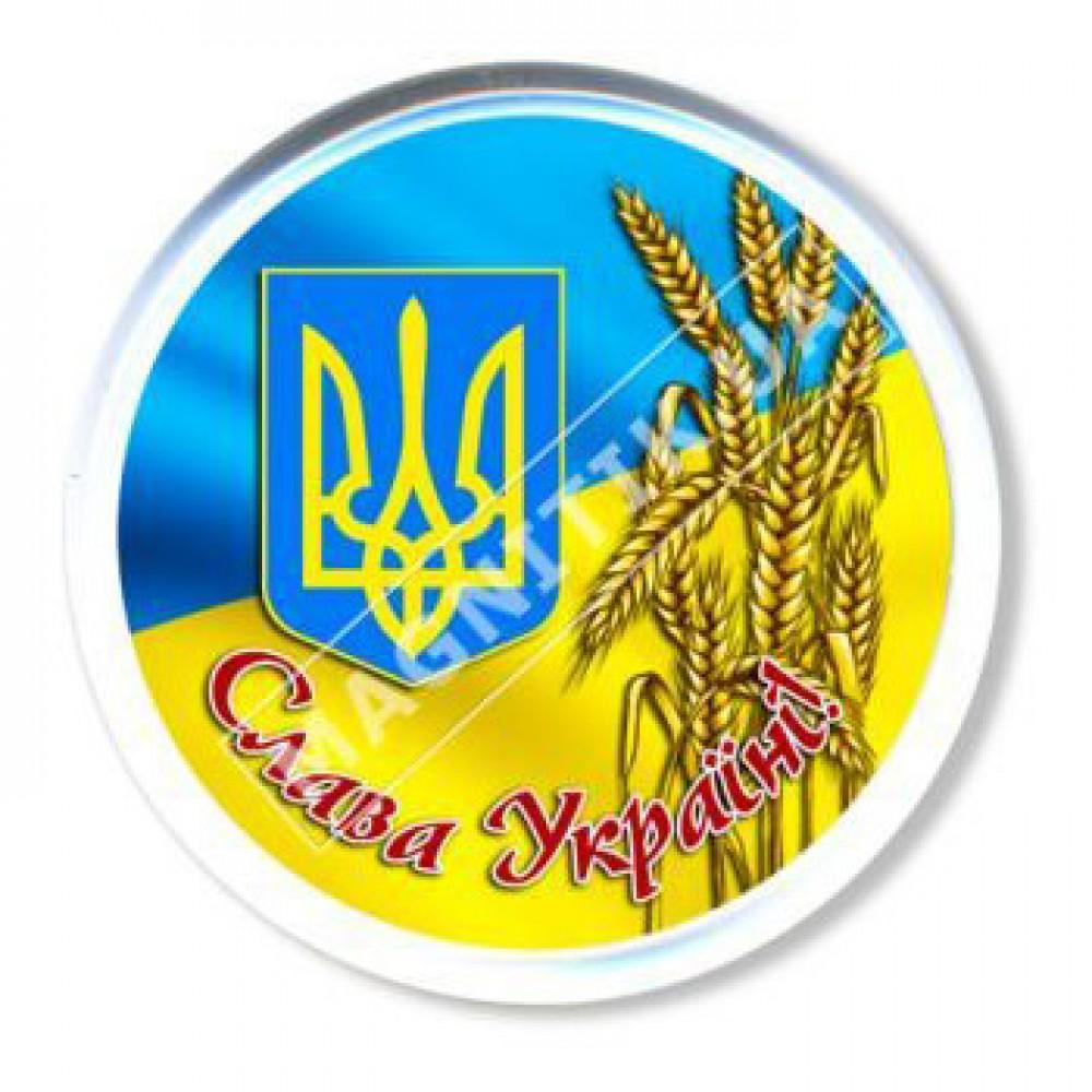 Значок патріотичний. Прапор, пшениця, герб